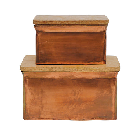 Sonoma Da4645 Iron And Wood Decorative Boxes-Set Of 2