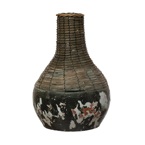 Terrain Df4146 Distressed Black Hand-Woven Rattan & Clay Vase