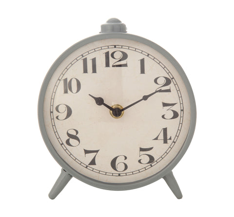 Urban Homestead Df1292 Round Grey Metal Mantel Clock