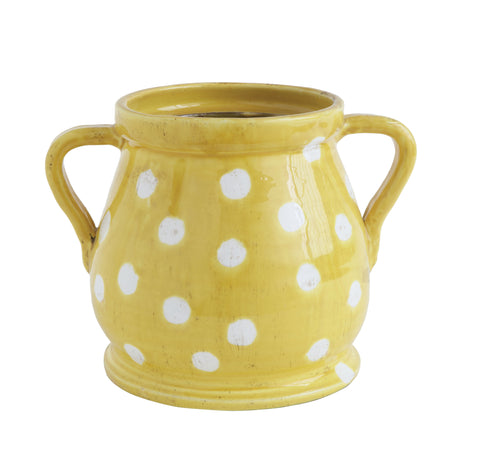 At The Table Da9511 Yellow/White Dotted Terracotta Planter