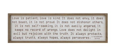 "Inspirational Df0288 ""Love Is Patient…"" Wood Framed Art"