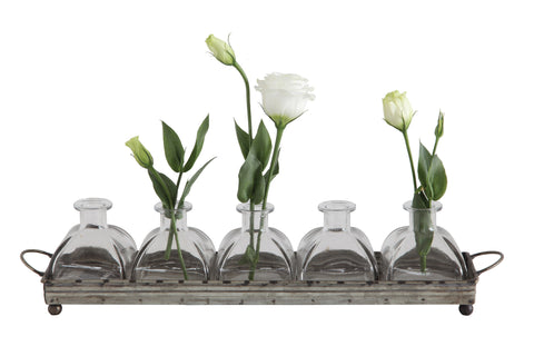 Backyard Farmer Da5591 Decorative Iron Rectangle Tray With Handles & 5 Glass Vases-Set Of 6