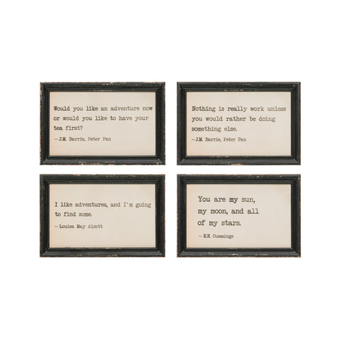 Little One Df1881A Adventure Sayings In Distressed Black Framed Art-Set Of 4