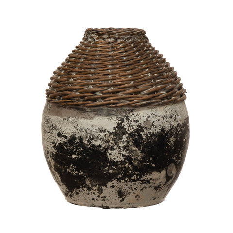 Terrain Df4148 Distressed White Hand-Woven Rattan & Clay Vase