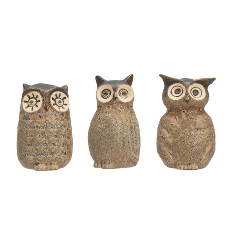 Terrain Df2045A Reactive Glaze Finish Grey Stoneware Owl Vases-Set Of 3