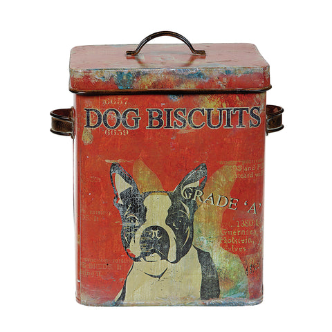 Urban Homestead De0791 Vintage Tin Dog Biscuit Decorative Box