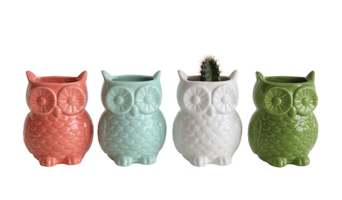 Bits & Bobs Da5654A Stoneware Owl Shaped Vase With Magnets Vases-Set Of 4