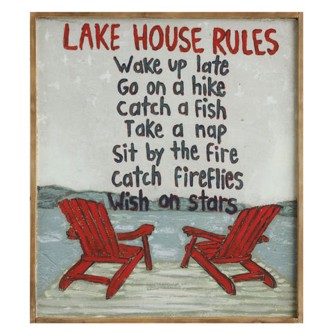 "Shoreline Da6974 ""Lake House Rules ..."" Framed Art"