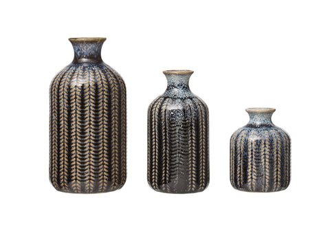 At The Table Df3002 Reactive Glaze Embossed Stoneware Vases-Set Of 3