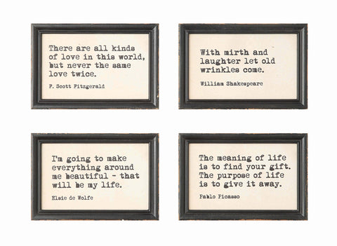 Collected Notions Da4347A Wood With Quotes Framed Art-Set Of 4