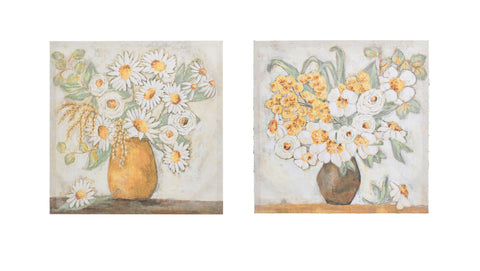 Gallery Df2833A Square Flowers In Vase Canvas Art-Set Of 2