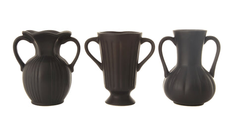 Chateau Df1022A Handled Matte Black Ceramic Vases-Set Of 3