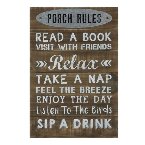 "Rustic Country Da7070 ""Porch Rules ..."" Wood Wall Decor"