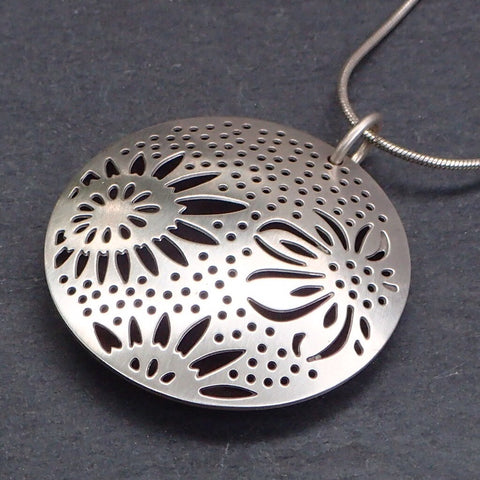 Hollow Silver Triple Sunflower Pendant