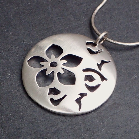 Hollow Silver Cherry Blossom Pendant