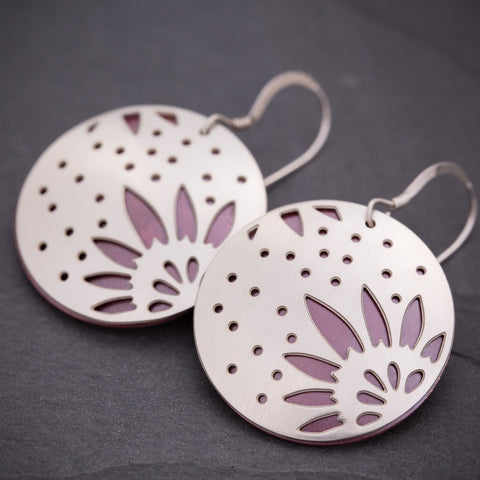 Silver & Red Sunflower Earrings