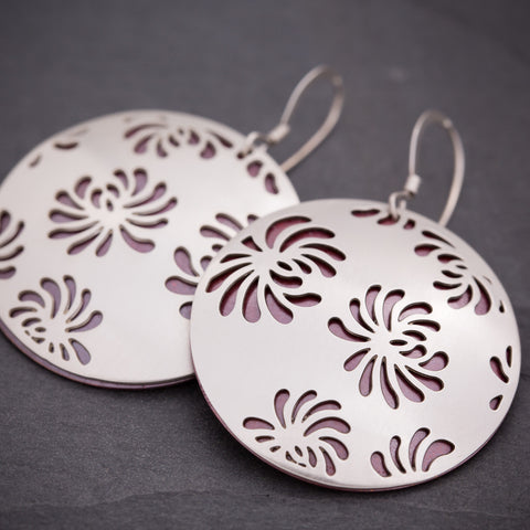 Silver & Red Chrysanthemum Earrings