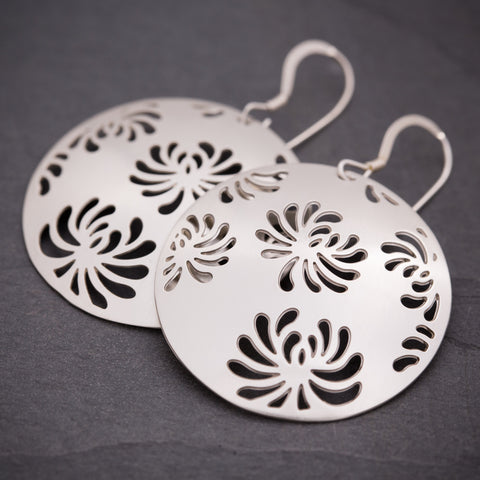 Silver Chrysanthemum Earrings