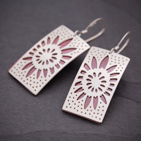 Silver & Red Rectangular Sunflower Earrings