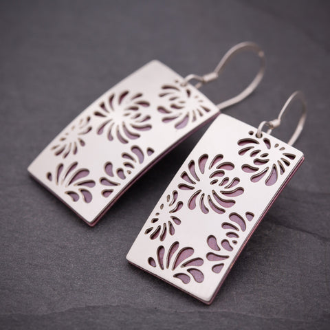 Silver & Red Rectangular Chrysanthemum Earrings