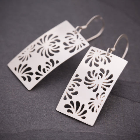 Silver Rectangular Chrysanthemum Earrings