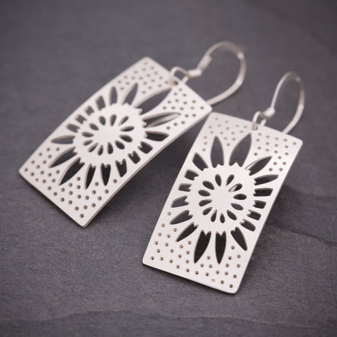 Silver Rectangular Sunflower Earrings