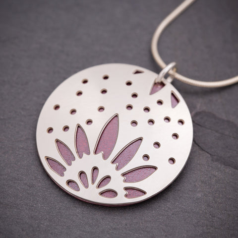 Silver & Red Sunflower Pendant