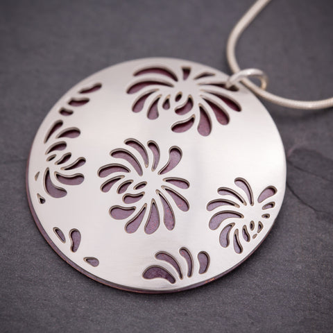 Silver & Red Chrysanthemum Pendant