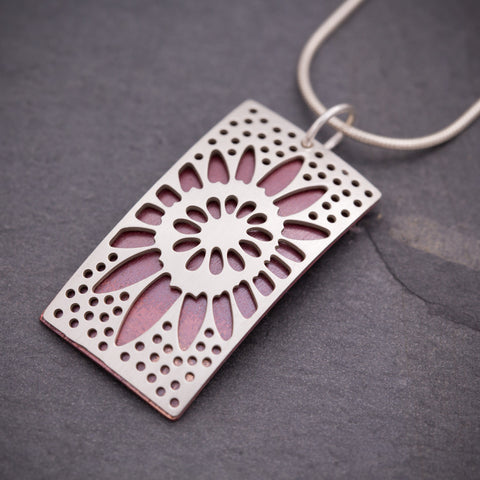 Silver & Red Rectangular Sunflower Pendant