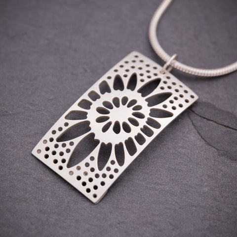 Silver Rectangular Sunflower Pendant