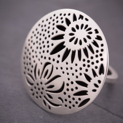 Silver Triple Sunflower Ring