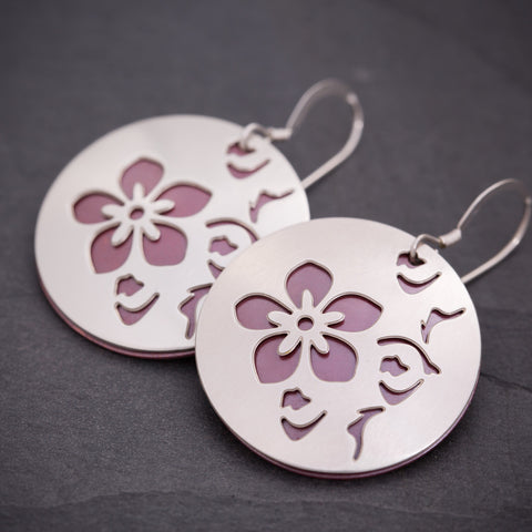 Silver & Red Cherry Blossom Earrings