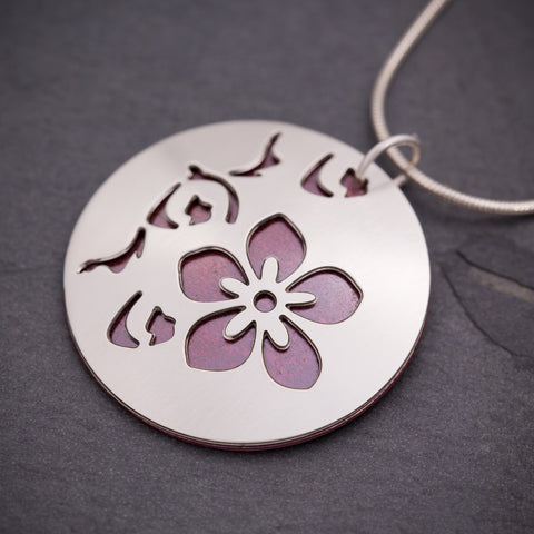 Silver & Red Cherry Blossom Pendant