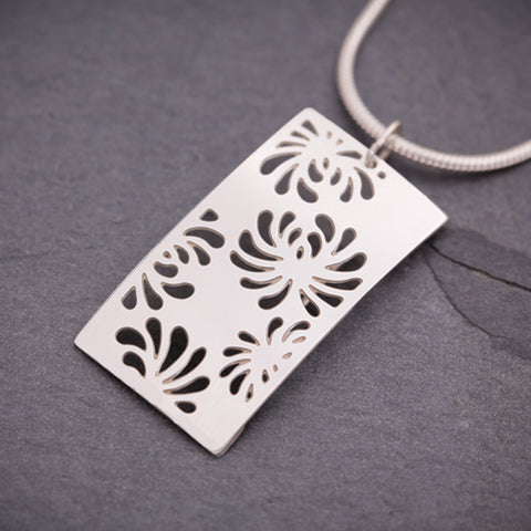 Silver Rectangular Chrysanthemum Pendant