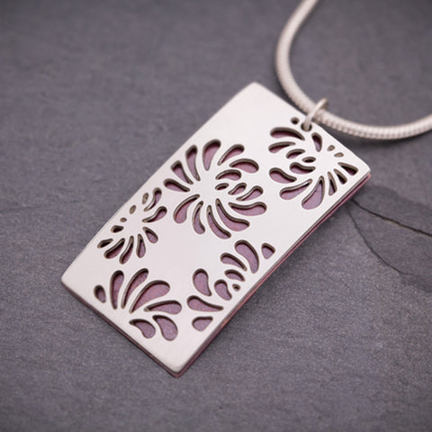 Silver & Red Rectangular Chrysanthemum Pendant