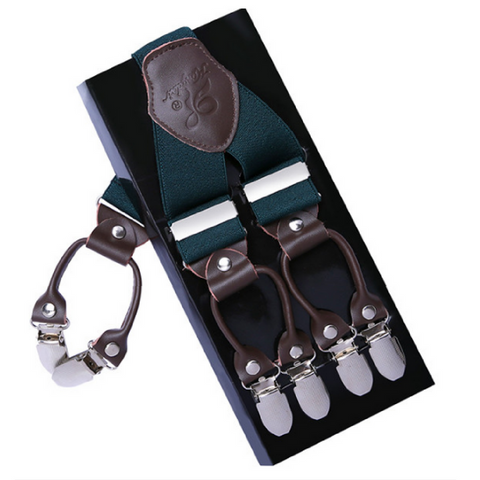 Mens Braces Trousers Straps - Turquoise