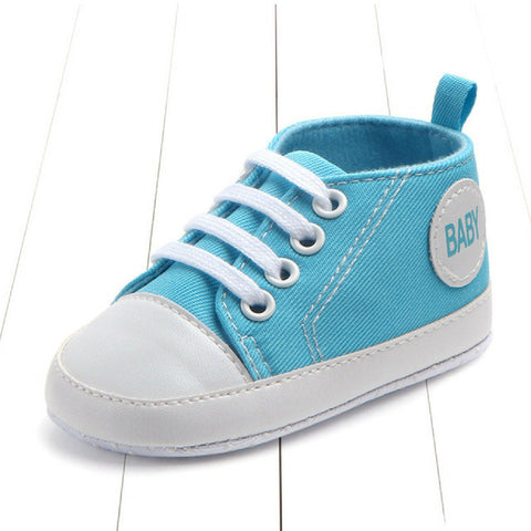 Baby Canvas Crib Shoes - Blue Baby