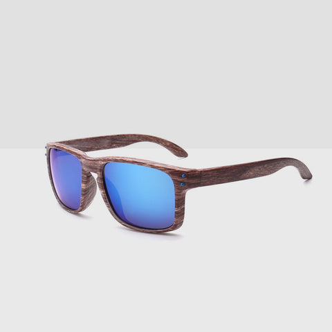 Linder Wooden Tea Textured Sunglasses - Blue