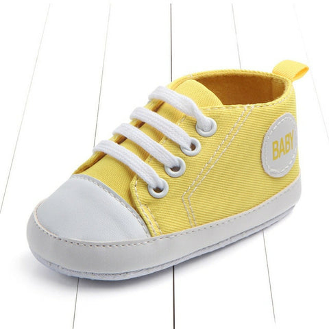 Baby Canvas Crib Shoes - Yellow Baby