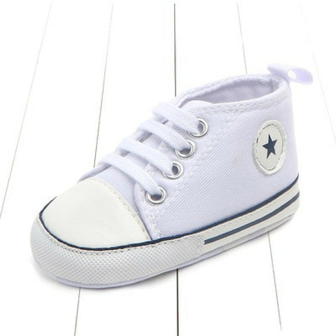 Baby Canvas Crib Shoes - White Star