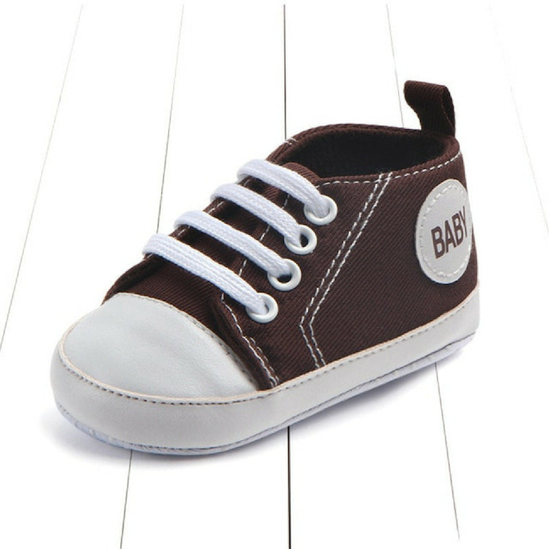 Baby Canvas Crib Shoes - Brown Baby