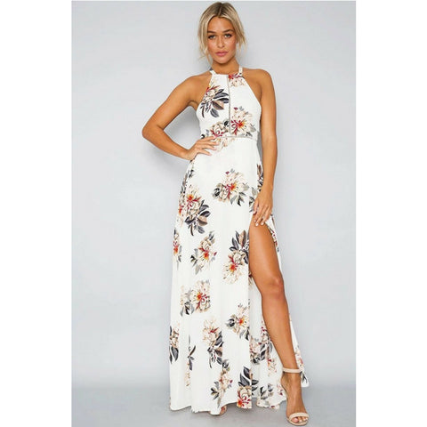LINDER Floral Print Maxi Dress - White