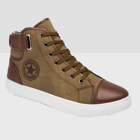 High Top Canvas Boots - Brown