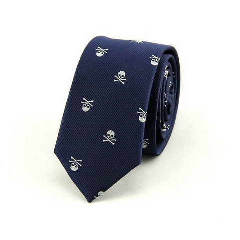 Skull Neck Tie - Navy Blue
