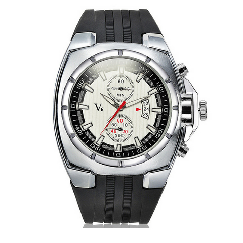 Mens V6 Sport Watch-Silver with White Face