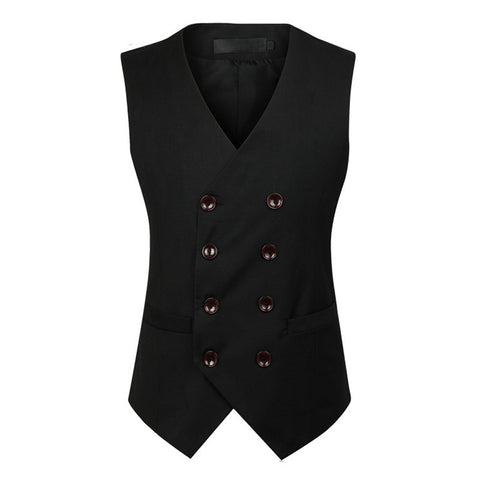 Double Breasted Waistcoat - Black