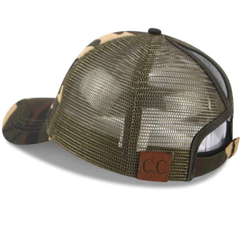 Plain Mesh Trucker Cap by Linder - Camo