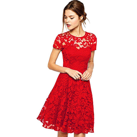 Lace Mini Dress by Linder - Red