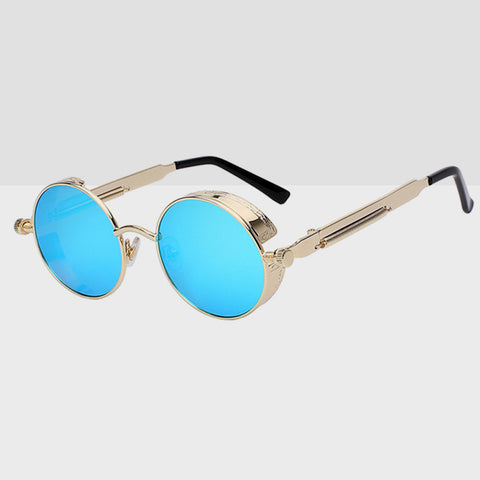 Round Hipster Sunglasses - Blue Gold