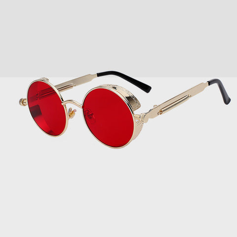 Round Hipster Sunglasses - Red Gold